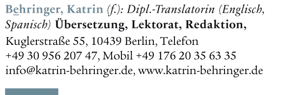 Katrin Behringer, Dipl.-Translatorin (Deutsch, Englisch)